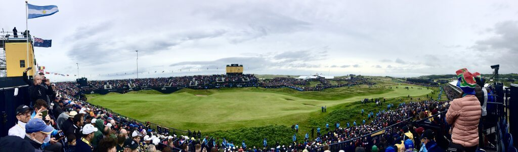 The 18th hole at the 2019 Open at Royal Portrush